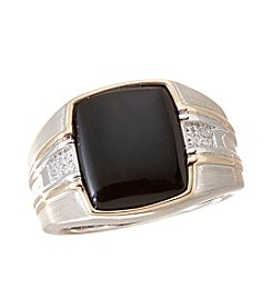 Effy Men's Sterling Silver and 14k Yellow Gold with 0.07 ct.t.w. Diamond Onyx Ring
