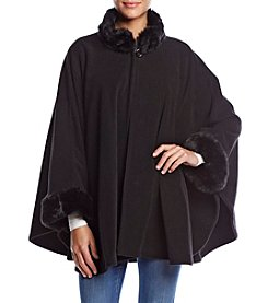 Cejon Fleece Cape With Solid Faux Fur