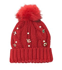 Collection 18 Cabled Beanie With Holiday Charms