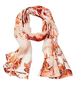 Collection 18 Opulent Rose Burnout Oblong Scarf