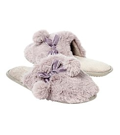 Collection 18 Plush Pom Pom Slide On Slippers