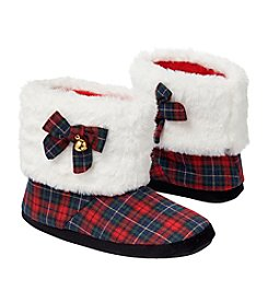 Collection 18 Jingle Bells Tartan Plaid Slipper Booties