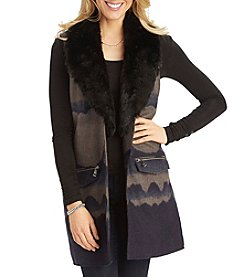 Democracy Chevron Abstract Pattern Fur Trim Vest