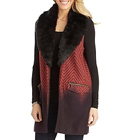 Democracy Chevron Ombre Pattern Fur Trim Vest