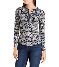 Chaps Floral Print Henley Top