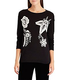 Chaps Floral Embroidered Sweater