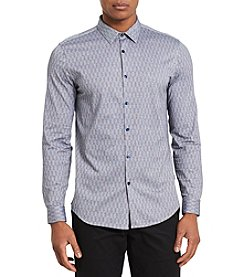 Calvin Klein Men's Jacquard Striped Dress Shirt