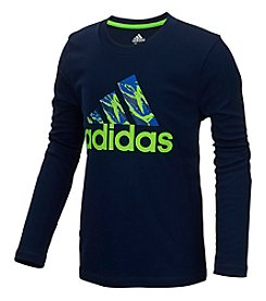 adidas Boys' 8-20 Long Sleeve Pattern Fill Logo Tee