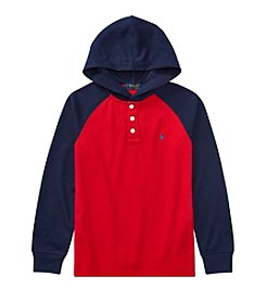 Polo Ralph Lauren Boys' 8-20 Long Sleeve Waffle Knit Hoodie