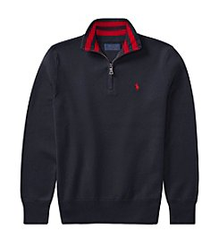 Polo Ralph Lauren Boys' 8-20 Long Sleeve Quarter Zip Sweater