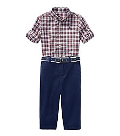 Lauren Baby Boys' Short Sleeve Plaid Shirt And Chino Pants Set