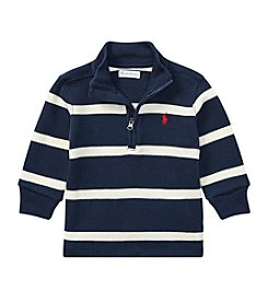 Lauren Baby Boys' Long Sleeve 1/4 Zip Striped French Rib Pullover