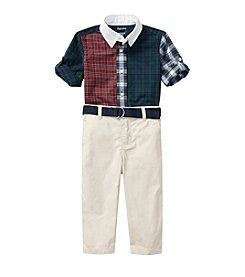 Lauren Baby Boys' 3M-24M Plaid Shirt Pants And Belt Set