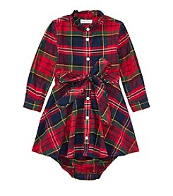 Lauren Baby Girls' Flannel Plaid Dress And Bloomers