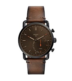 Fossil Men's Q Commeter Brown Leather Strap Hybrid Smart Watch