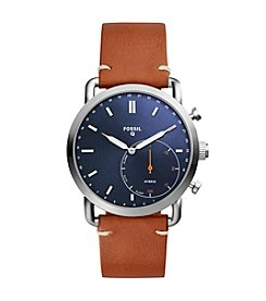 Fossil Men's  Blue Face Leather Strap Hybrid Smart Watch