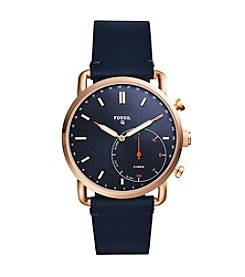 Fossil Men's Rose Goldtone Blue Strap Hybrid Smart Watch