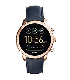 Fossil Men's Gen 3 Smartwatch Q Explorist Navy Leather