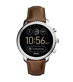 Fossil Q Wander Smartwatch Silvertone Brown Leather