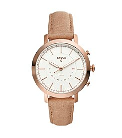 Fossil Men's Rose Goldtone And Leather Hybrid Smart Watch