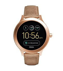 Fossil Q Wander Rose Goldtone Leather Smart Watch