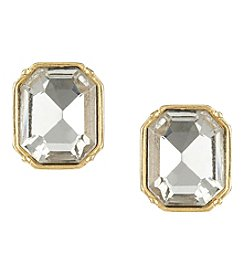 Laundry Emerald Cut Goldtone Stud Earrings