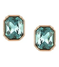 Laundry Emerald Cut Rose Goldtone Stud Earrings