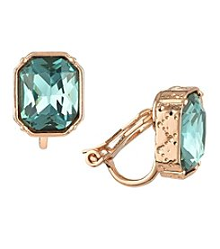 Laundry Emerald Cut Rose Goldtone Clip-On Earrings