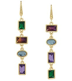 Laundry Goldtone Multicolor Mismatch Linear Drop Earrings