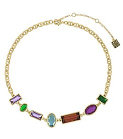 Laundry Goldtone Mixed Stone Collar Necklace