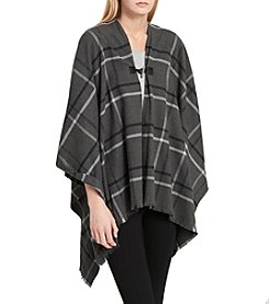 Calvin Klein Plaid Toggle Ruana