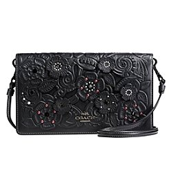 COACH FOLDOVER CROSSBODY IN TOOLED TEA ROSE GLOVETANNED LEATHER