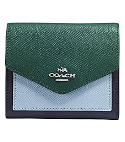 COACH Small Wallet In Colorblock Crossgrain Leather
