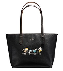 COACH SNOOPY CITY ZIP TOTE IN POLISHED PEBBLE LEATHER
