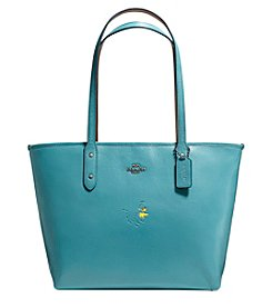 COACH SNOOPY WOODSTOCK CITY ZIP TOTE IN POLISHED PEBBLE LEATHER
