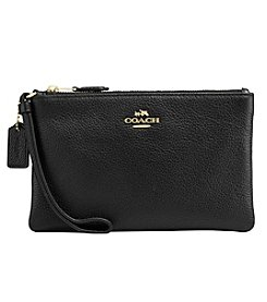 COACH Boxed Small Wristlet In Polished Pebble Leather
