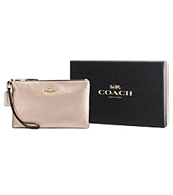COACH BOXED SMALL WRISTLET IN METALLIC LEATHER