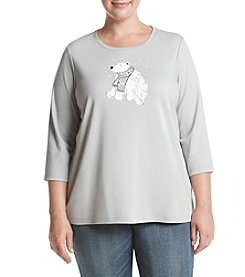 Studio Works Plus Size Polar Bear Crew Neck Top