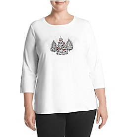 Studio Works Plus Size Pine Tree Crew Neck Top