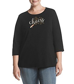 Studio Works Plus Size Cheers Crew Neck Top