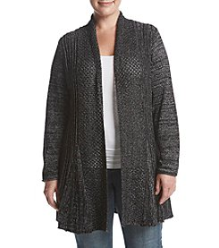 Studio Works Plus Size Metallic Open Front Sweater