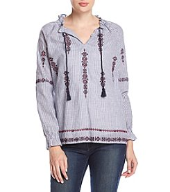 Ruff Hewn Ticking Stripe Embroidered Top