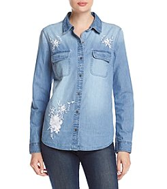 Ruff Hewn Embroidered Denim Button Front