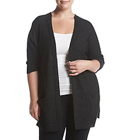 Democracy Plus Size Lace Up Back Open Front Sweater