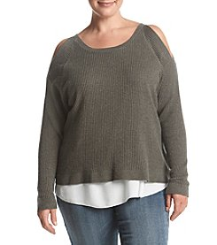 Democracy Plus Size Cold Shoulder Knit Sweater
