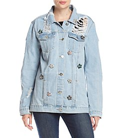 One 5 One Oversized Destructed Jewel Detail Denim Jacket