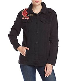 One 5 One Destructed Detail Black Wash Floral Embroidery Denim Jacket