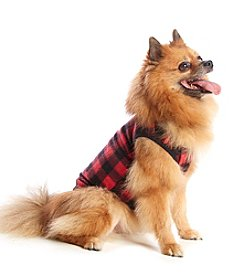 KN Karen Neuburger Buffalo Plaid Fleece Dog Coat Sleeper