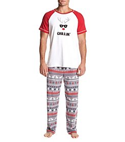 KN Karen Neuburger Men's Chillin Deer Pajama Set