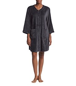 Miss Elaine Short Textured Zip Robe